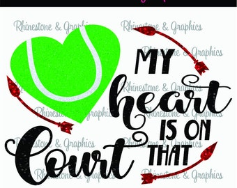 My Heart is on That Court Tennis l Heart Pattern Instant Download SVG EPS DXF Cutting file