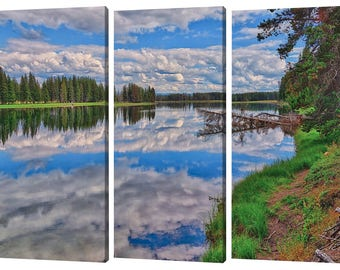 Yellowstone River Reflections Triptych Set From Yellowstone National Park, Three Piece Wall Art, Modern Home Decor, Fine Art Nature Photos