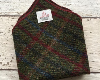 Harris Tweed Pocket Square, forest green check pocket square, Burns night pocket square, Groom Accessory, Hankerchief, gift for dad