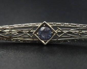 Antique 10k white gold blue topaz brooch