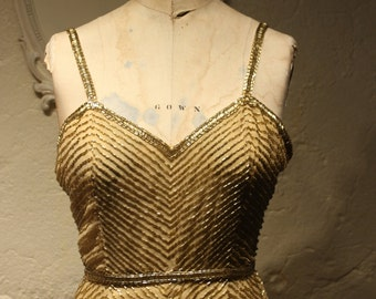 Vintage Gold Beaded Gown