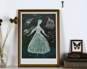 La Loba - Giclée Print - Mexican Folklore open edition art print-witchy decoration fairy tale dreamy illustration wall art