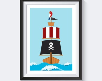 Pirate print - pirate ship - pirates poster nursery pictures - nursery - nursery - images images of children