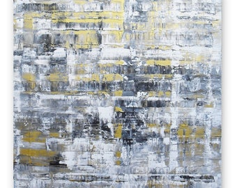 Abstract gold painting Gold Gray Black White - Contemporary art Canvas painting Original acrylic canvas art Modern wall decor Small 12x12