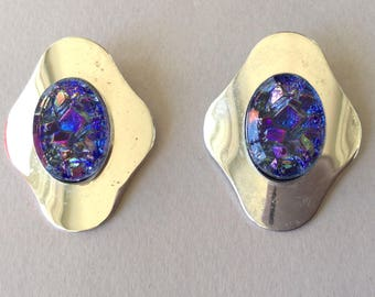 Sarah Cov Silver Tone Purple Atomic Clip On Earrings