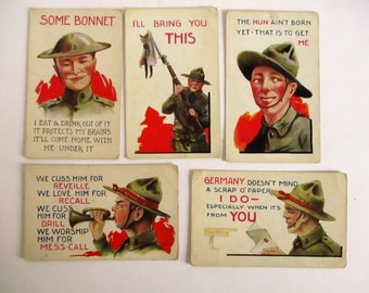 Lot Of 6 1910s WWI Doughboy US Army Comedic War Postcard Wall Comic Propaganda Illustrated World War I Cartoons