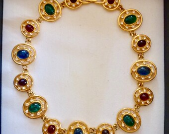 Givenchy vintage - colourful gold tone necklace with cabochons