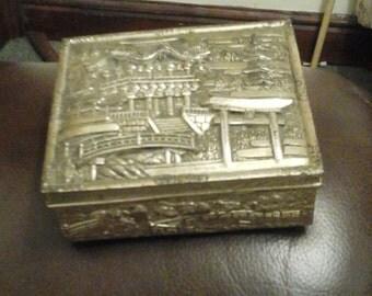 Vintage silver coloured metal trinket box