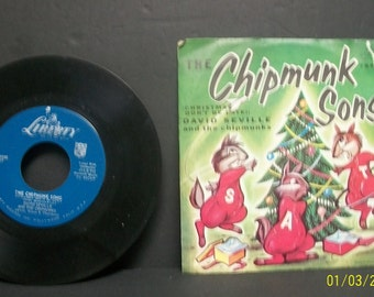 1959 Alvin And The Chipmunks Christmas  Don't Be Late  Alvins Harmonica  Liberty Records 45Rpm Record With 2 Sided Picture Sleeve Untested