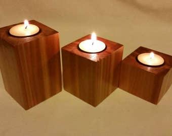 Cedar tealight candle holder centerpiece.