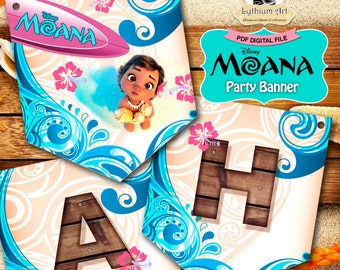 Moana Banner - Moana Party Banner - Moana Printable Banner - Moana Party Supplies - Princess Moana - Moana Birthday Party - Moana Garland