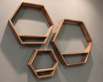 Shelves, set of 3 hexagonal wall shelves (The Chidingly)