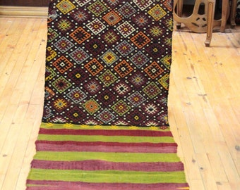 Beautiful Authentic 1900-1930s Antique Cicim Weaving 2x6ft Natural Dyes Runner