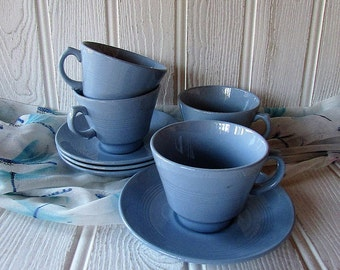 Woods Ware Iris Teacups & Saucers