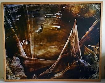 LUCIENNE BERTHON ( 1926 - 2012 ) Large Oil Painting Titled 'Le refuge des oiseaux bleus' Surrealist/Abstract