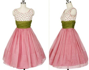 Pink Silk 1950's Vintage Full Party Dress w Floral Print