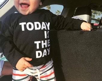 Military Homecoming Baby Shirt- Today is the Day - White Letters - Marine Homecoming Day Baby Shirt