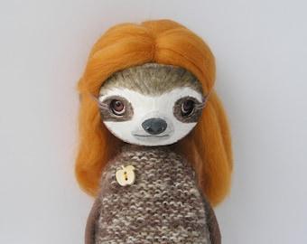 Ooak art doll with sloth mask cloth sloth doll totem gift fantasy rag doll sloth