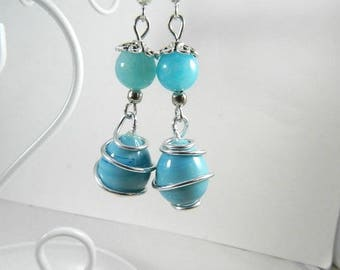 Earrings blue silver, dangling from ears blue pearls, designer jewelry, hand made jewelry, handmade