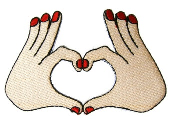 Heart Hand Sign Embroidered Applique Iron on Patch