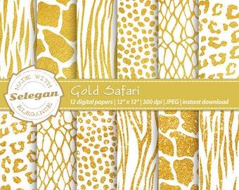 """Safari digital papers """" Gold Safari """" animal print skin texture pattern scrapbook background"""