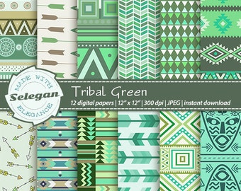 "Tribal Digital Papers "" Tribal Green "" aztec native ethnic boho arrow digital scrapbook printable diy paper"
