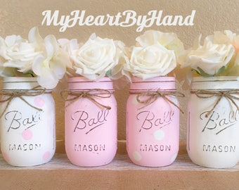 Pink Baby Shower Centerpieces, Baby Shower Decor, Painted Mason Jars,  Rustic Home Decor