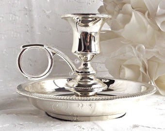 Silver Plated Candle Holder, Bedchamber Candle Holder, French Farmhouse, Cottage Chic Decor, Wedding Decor, Vintage Wedding