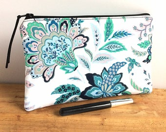 Turquoise Zipper Pouch - Cosmetic Bag - Floral Makeup Bag - Small Makeup Bag - Gift for Her - Bridesmaid Gift - Makeup Pouch - Pencil Bag