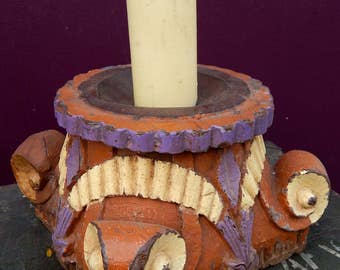 Large candleholder Table teak old column 28x28x20cm 6.5 kg Tha-daga