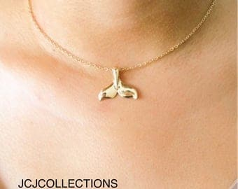 Gold Whale Tail Necklace, Mermaid Necklace