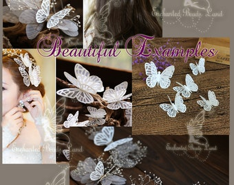 4pcs White Fabric Organza Butterflies Fabric Butterfly for Wedding Hair Piece Craft Jewelry Making Findings Lingerie Bralette Sewing Project