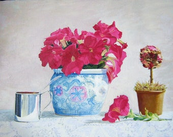 Original Oil Painting, Shades of Rose Petunias in Floral Still Life at Sale price.