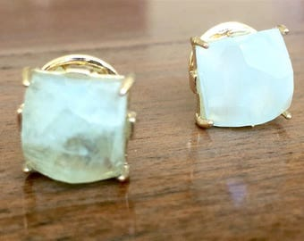 Aquamarine Gold Studs - Dream