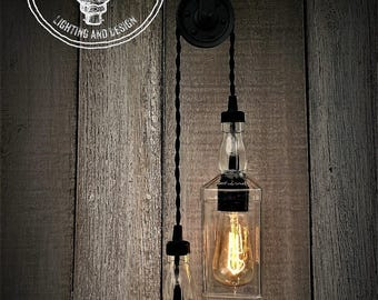Industrial Upcycled Whiskey Double Pulley Lighting, Edison Lighting, Industrial Lighting, Whiskey Bottle Lighting, Home Decor, Upcycled