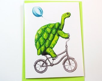 Turtle riding a bicycle, cycling turtle, turtle card, turtle brithday card