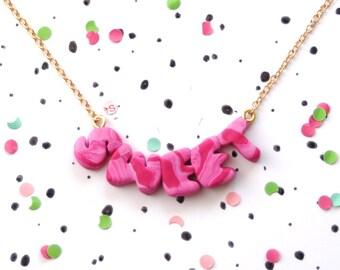 Statement Kette, Polymer Clay NICE, Buchstaben Kette