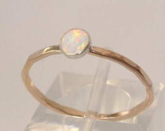 14k Gold Filled and 4 1/2mm synthetic white opal Birthstone stacking ring