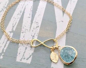 Aquamarine Initial Bracelet,Personalized Infinity Bracelet,Leaf Initial Braclet,Infinity Jewelry,Aquamarine Jewelry,Bridesmaid Sets,Weddings