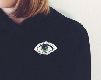 Green I C U eye brooch