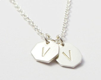 Initial Necklace   Personalised Initial Letter Charm Necklace Custom Made in Solid Sterling Silver Handcrafted by Ginny Reynders