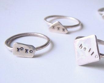 Fun little rings - Sterling silver rings - Hello ring - Xoxo ring - Xxx ring - Recycled sterling silver jewellery