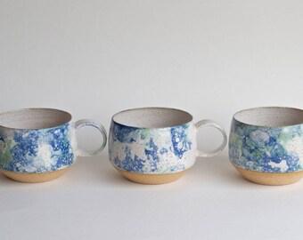 Handmade Pottery Mugs - READY TO SHIP -Ceramic Cups - Ceramic Mugs - Coffee Mugs - Latte Mugs - Bubble Glaze - Long Island Waters