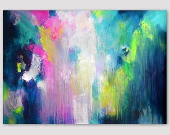 Original XL abstrakte UNGEDEHNT Malerei, abstrakte Kunst, Leinwand, Malerei, bunte Acrylmalerei, Rosa Pink gelb grün dunkel blau