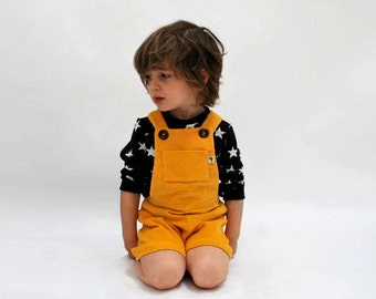 Childrens dungaree shorts yellow cordoruy summer short overalls girls boys outfit baby bright sunshine retro colorful lemon cute all in one