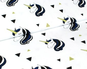 ORGANIC JERSEY Fabric - Unicorns in Blue by Wcollection - UK Seller