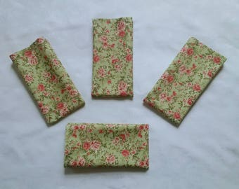 Napkins, green, pink, English rose, floral, table napkins, eco friendly, machine washable, cotton fabric, house warming gift, set of 4