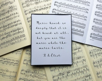 Poet Quote Art Print // T. S. Eliot Quote Art Print // Musical Art // Inspirational Quote // Practice Room, Music Room Art // Music Gift