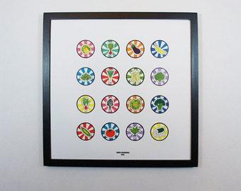 Vegetable Art Print // Small Icons // Square Art Print // Modern Art Print // Bold Colors // Kitchen Art // Pop Art // Graphic Art