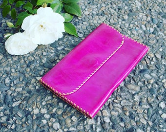 Handmade Pink Leather Wallet